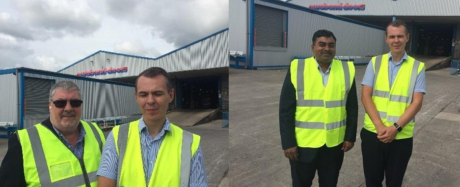 Our global Vice President Laki Ponnam and our UK-based Solutions Consultant John Walker meeting Leon Jones at Eurobond Laminates Ltd factory